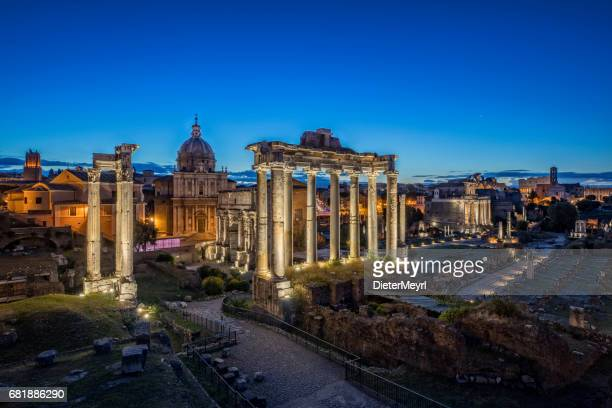 The Temple of Saturn by night at Roman Forum, Rome