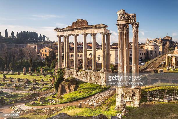 the temple of saturn in the roman forum, rome. - rome italy stock pictures, royalty-free photos & images