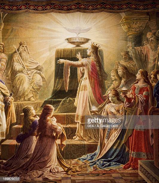 The temple of the Holy Grail Lohengrin mural cycle by Wilhelm Hauschild Neuschwanstein Castle Fussen Germany 19th century Detail