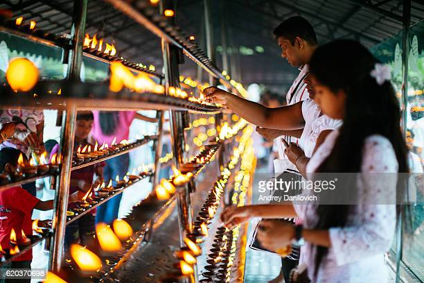 the temple of the tooth in sri lanka - diwali celebration stock photos and pictures