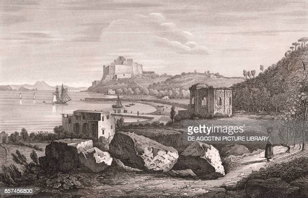 The Temple of Venus in Baia with the Aragonese Castle in the background Bacoli Campania Italy copper engraving 289x185 cm from Corografia fisica...