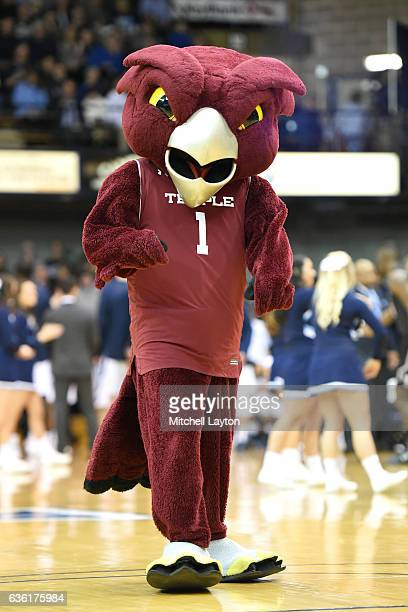 The Temple Owls mascot on the floor before a college basketball game against the Villanova Wildcats at the Pavilion on December 13 2016 in Villanova...