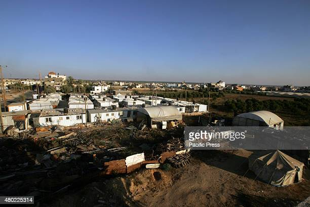 The temporary shelters for the Palestinians whose homes were destroyed during the 50day war between Israel and Hamas militants in the summer of 2014...