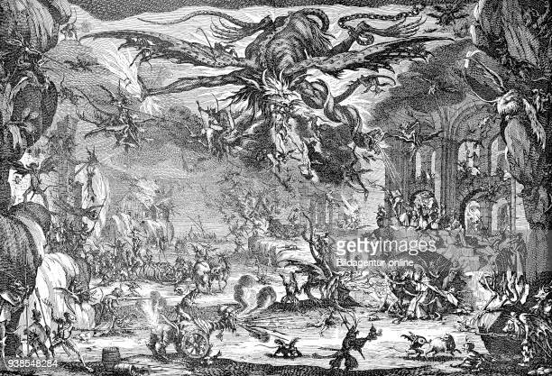 The Temptation of Saint Anthony through earthly lust and his torments by the devil and his demons Copper engraving by Jacques Callot from the 17th...