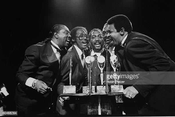The Temptations Melvin Franklin, David Ruffin, Otis Williams, Eddie Kendricks & Dennis Edwards performing after receiving their awards at the 4th...