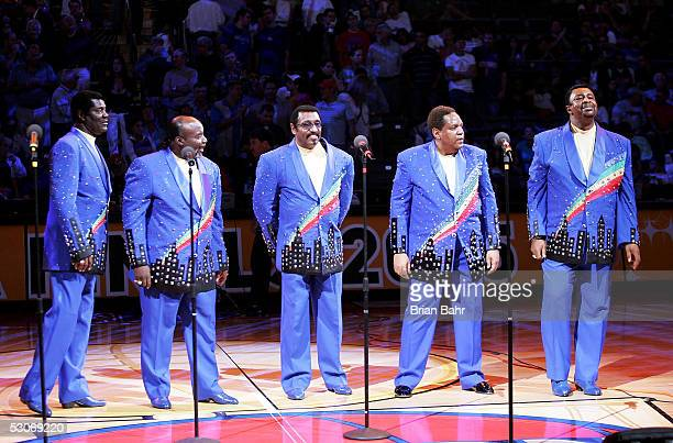The Temptations perform at halftime as the the San Antonio Spurs take on the Detroit Pistons in Game three of the 2005 NBA Finals at The Palace of...