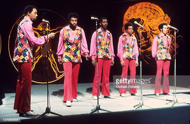 The Temptations perform on BBC TV show Top Of The Pops, 29th March 1972, London, L-R Melvin Franklin, Dennis Edwards, Otis Williams, Damon Harris,...