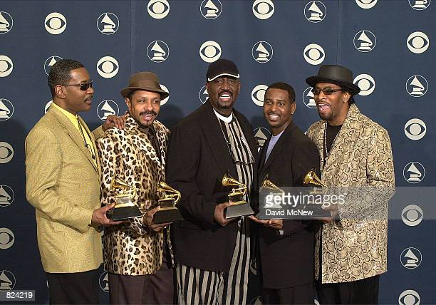 The Temptations pose backstage with their award at the 43rd annual Grammy Awards February 21 2001 at Staples Center in Los Angeles CA They won an...