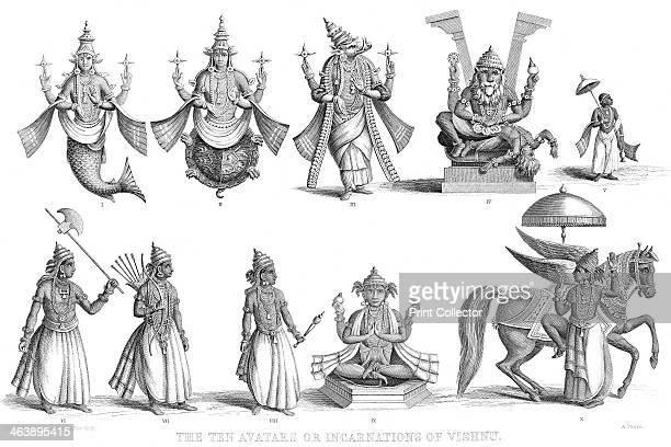 'The Ten Avatars or Incarnations of Vishnu' c1880 Vishnu one of gods of the Hindu Trinity in his ten incarnations or avatars