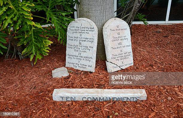 The Ten Commandments are displayed on stone tables outside the River at Tampa Bay Church before the start of a Tea Party Unity Rally at The River at...