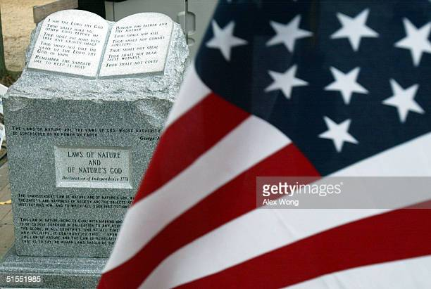 The Ten Commandments monument that was removed from the Alabama Judicial Building is on display during the 'America for Jesus' rally October 22 2004...