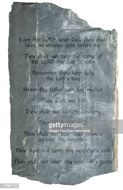 the ten commandments on a stone tablet - ten commandments stock photos and pictures