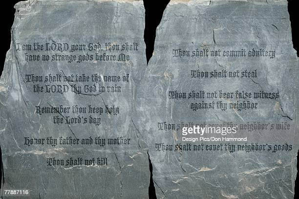 The ten commandments on stone tablets