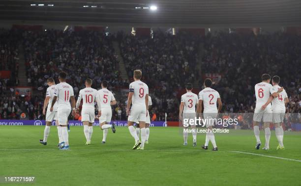 the ten England outfield players after celebrating the thrid goal during the UEFA Euro 2020 qualifier match between England and Kosovo at St Mary's...
