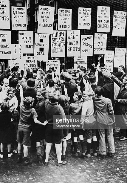 The Tenants Strike Against The High Cost Of The Rent In London On August 1938