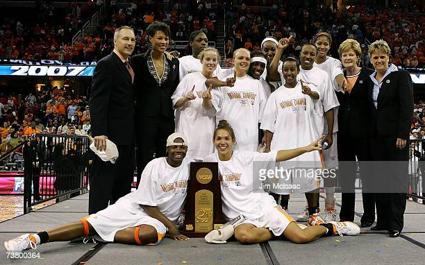 The Tennessee Lady Volunteers pose for a team photo with the trophy after their 5946 victory against the Rutgers Scarlet Knights to win the 2007 NCAA...