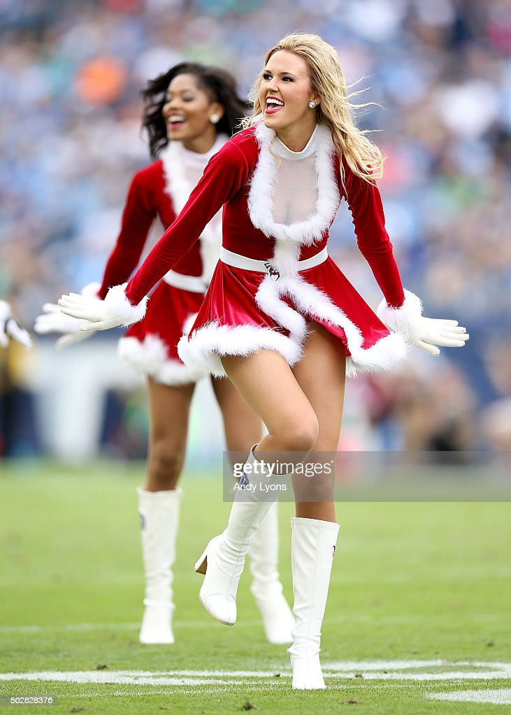 The Tennessee Titans cheeleaders perform during the game against the Houston Texans at LP Field on December 27, 2015 in Nashville, Tennessee.