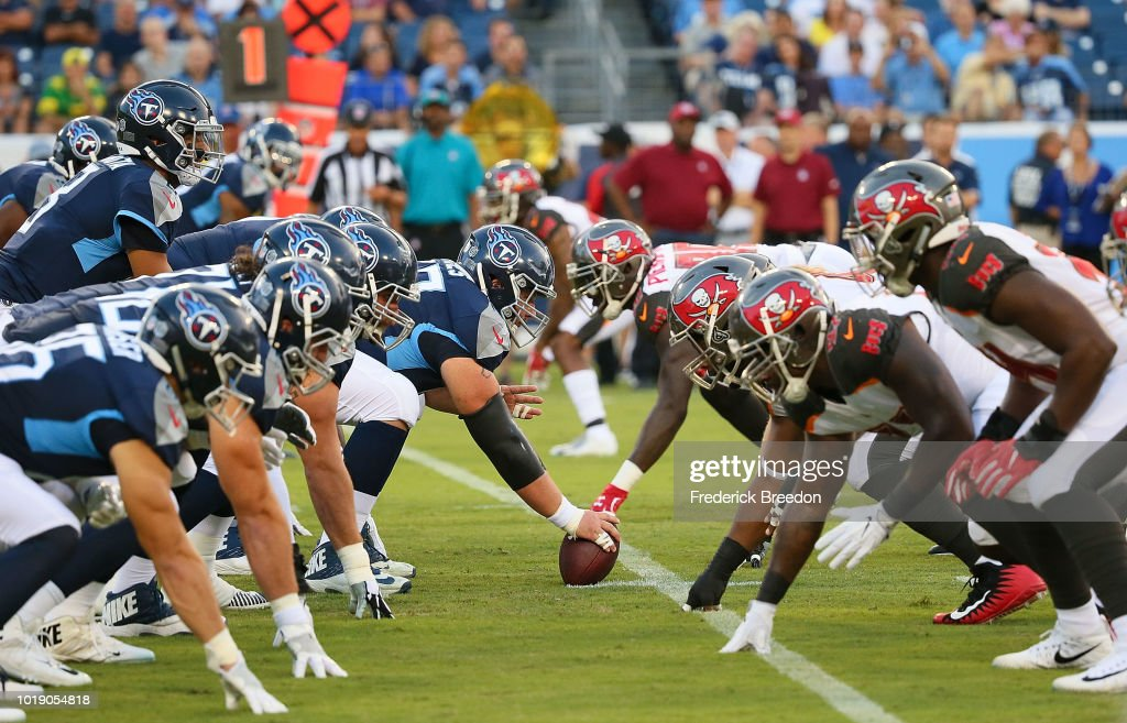 The Tennessee Titans line up against the Tampa Bay Buccaneers during the first half of a pre-season game at Nissan Stadium on August 18, 2018 in Nashville, Tennessee.
