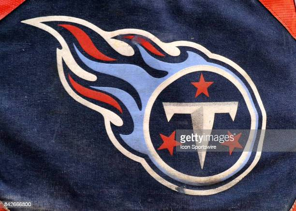 The Tennessee Titans logo on an equipment bag before an NFL preseason game between the Tennessee Titans and the Kansas City Chiefs on August 31 2017...