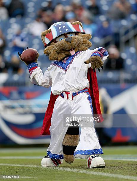 The Tennessee Titans mascot performs during the game against the Indianapolis Colts at LP Field on December 28 2014 in Nashville Tennessee
