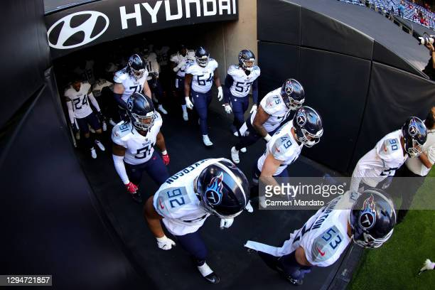 The Tennessee Titans take the field against the Houston Texans at NRG Stadium on January 03, 2021 in Houston, Texas.