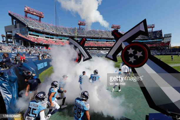 The Tennessee Titans take the filed for their game against the Chicago Bears at Nissan Stadium on November 08, 2020 in Nashville, Tennessee.