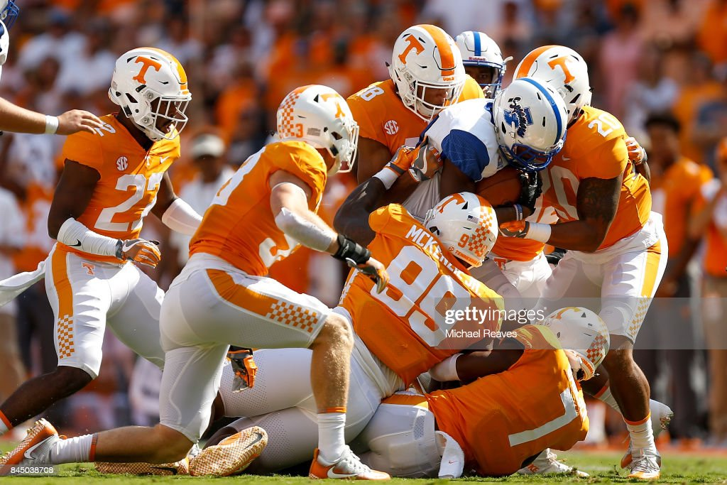 The Tennessee Volunteers defense tackles Jaquan Keys #3 of the Indiana State Sycamores during the first half of the game at Neyland Stadium on September 9, 2017 in Knoxville, Tennessee.