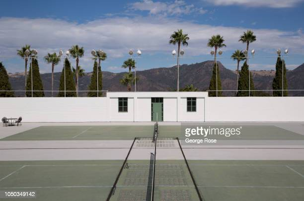 The tennis courts located above the Roman Indoor Pool is viewed at Hearst Castle is viewed on October 4 in San Simeon California Hearst Castle built...