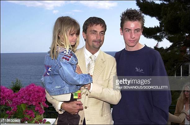 The Tennis Open of Montecarlo in Monaco City, Monaco on April 17, 2001 - Henri Leconte with his children Luna and Maxime.
