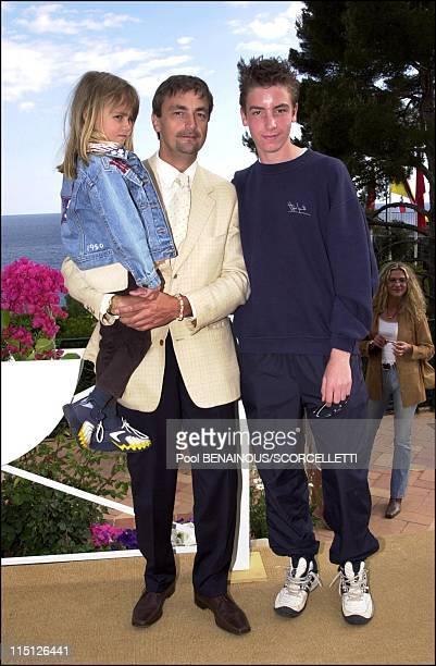 The Tennis Open of Montecarlo in Monaco City Monaco on April 17 2001 Henri Leconte with his children Luna and Maxime