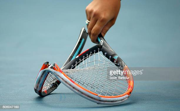 The tennis racquet smashed by Marinko Matosevic of Australia as he left the court after losing his match against Alejandro Gonzalez of Colombia is...
