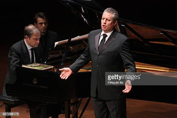 The tenor Matthew Polenzani accompanied by the pianist Julius Drake performing the songs by Beethoven Liszt Satie Ravel and Barber at Alice Tully...