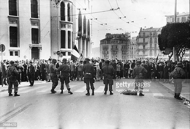 The tense scene just before a bloody clash between proOAS protesters and the French armed forces in Algiers during which around 40 protesters were...