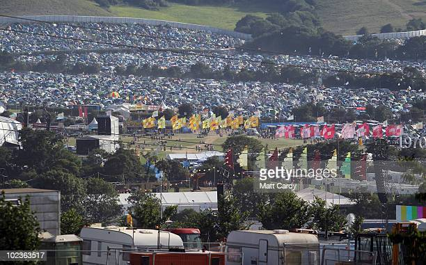 The tent's belonging to the first of the 140,000 music fans due at this year's Glastonbury Festival begin to arrive at Worthy Farm, Pilton on June...