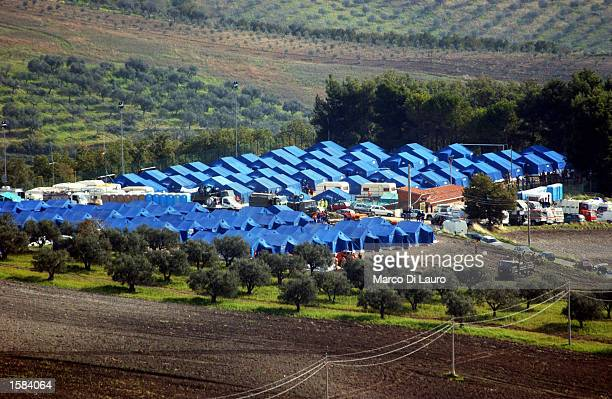 The tents of one of two refugee camps built to house nearly 3000 area residents of the town of San Giuliano di Pugia are shown November 2 2002 which...