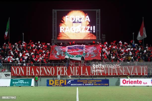 The Teramo Calcio fans during the Lega Pro 17/18 group B match between Teramo Calcio 1913 and SS Sambenedettese at Gaetano Bonolis stadium on...