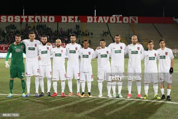 The Teramo Calcio line up during the Lega Pro 17/18 group B match between Teramo Calcio 1913 and SS Sambenedettese at Gaetano Bonolis stadium on...