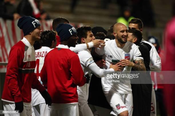 The Teramo Calcio player's celebrate the goal of 21 during the Lega Pro 17/18 group B match between Teramo Calcio 1913 and Alma Juventus Fano 1906 at...