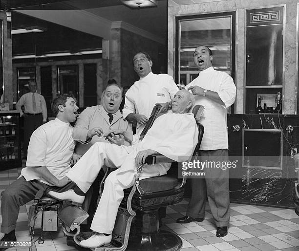 The terminal Barber Shop at the Hotel Statler took on the aspect of real old times today as four Met stars donned barber uniforms and teamed up in a...