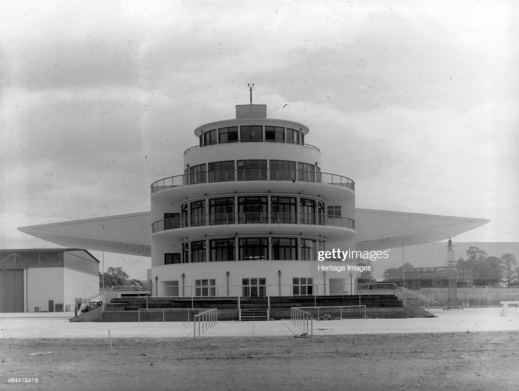 The terminal building and control tower at Elmdon Airport, Birmingham, West Midlands, 1939. Artist: Herbert Felton : News Photo