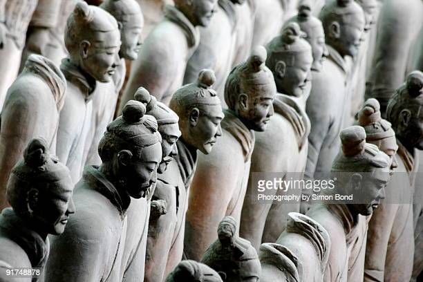 The terra cotta army standing in line