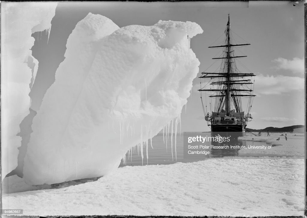 The 'Terra Nova' moored to the ice sheet in the Ross Dependency, during Captain Robert Falcon Scott's Terra Nova Expedition to the Antarctic, 16th January 1911.