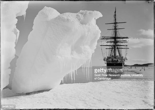 The 'Terra Nova' moored to the ice sheet in the Ross Dependency during Captain Robert Falcon Scott's Terra Nova Expedition to the Antarctic 16th...