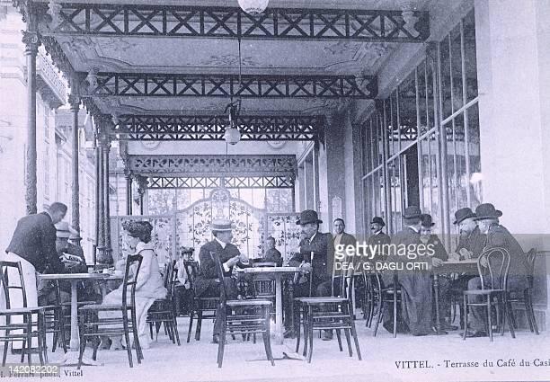 The Terrace of Cafe du Casino in Vittel, ca. 1910, France 20th Century.