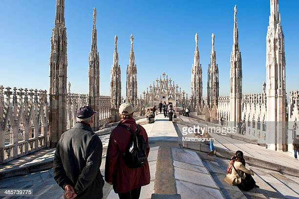 the terrace of duomo - milan cathedral stock pictures, royalty-free photos & images