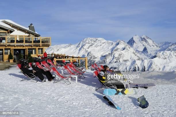 The terrace of mountain restaurant Le Panoramic Courchevel 1850 ski resort Trois Vallees skiing area Tarentaise valley Savoie department Rhone Alpes...