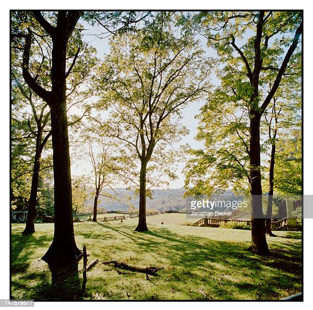The terraced gardens of the former Henry W. Poor house are photographed for Town & Country Magazine on September 8, 2011 in Tuxedo Park, New York....