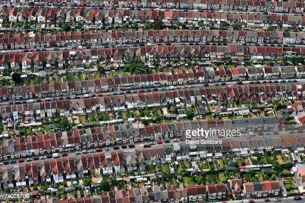 The terraced housing of Portsmouth contributes to this uniform pattern in this aerial photo taken on 4th June 2006