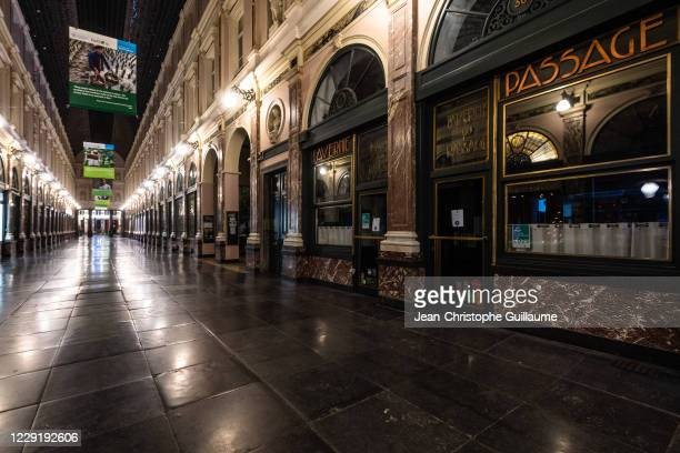 The terraces with tables and chairs have disappeared from the royal galleries of saint hubert. Brussels on October 20, 2020 in Brussels, Belgium....