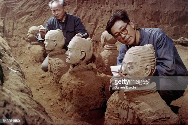 The Terracotta Army literally soldier and horse funerary statues or the Terra Cotta Warriors and Horses is a collection of terracotta sculptures...
